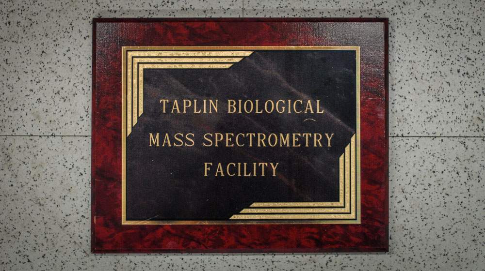 Taplin Biological Mass Spectrometry Facility sign